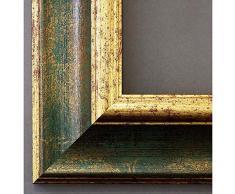 Artecentro Cornice Dorata per Quadri - Oro/Colore con o Senza passepartout in Legno-Varie Misure (Oro/Verde, 70 x 100)