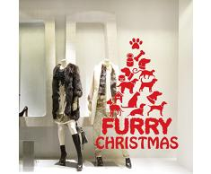 "NT0311 Adesivi Murali Vetrofania natalizia ""Furry Christmas"" - Misure 89x120 cm - rosso - Vetrine negozi per Natale, stickers, adesivi"