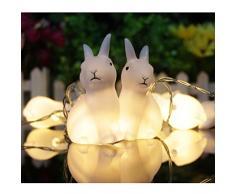 LEDMOMO Catene Luminose LED a Batteria 10 LED Coniglietto Coniglio di Pasqua Decorative (Luce Bianca Pura)