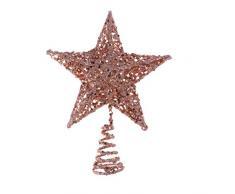 Amosfun - Puntale per albero di Natale in ferro con stella glitterata, Ferro, Oro rosa, 20 cm