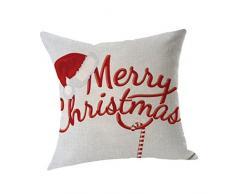 """Cuscino di Christmas, Longra Dispositivo di lavaggio ecologico removibile e lavabile 45cm * 45cm / 18 """"* 18"""" Stampa di tema di Natale Cuscino di cotone (Multicolore_C)"""