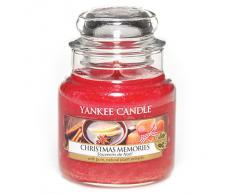 Yankee candle 1275315E Christmas Memories Candele in giara piccola, Vetro, Rosso, 6.4x6.2x8.6 cm