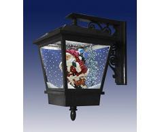 Christmas Concepts® Black With Festive Snowing Lanterna montata a parete con luci a LED - Babbo Natale - Decorazioni natalizie a sospensione per interni/esterni
