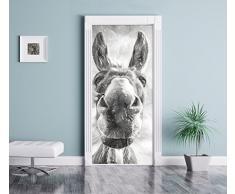 effetto carbone Asino divertente come Murale, Formato: 200x90cm, telaio della porta, adesivi porta, porta decorazione, autoadesivi del portello