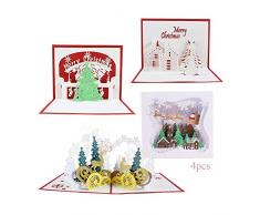 Anyingkai 4pcs Cartoline di Natale 3D,3D Pop up Biglietti di Auguri,Cartolina 3D,Cartolina Natale,Biglietto di Auguri 3D,Biglietti di Auguri di Natale