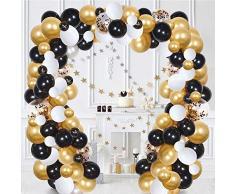 FUNCUBE Balloon Ghirlanda Kit Bianco e Nero e Oro Palloncini in Lattice Ghirlanda Pack per Addio al Nubilato Compleanno Festa Anniversario Laurea Centrotavola Decorazioni (White & Black & Gold)