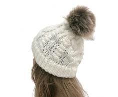 Winter Cappello Cristallo Grand Pom Pom Invernale di Lana Berretto delle Signore delle Donne Beanie Hat Pera Sci Snowboard di Moda cappelli donna cerimonia elegante cappelli babbo natale adulti