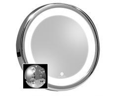 MACOM Sensation 211 Solar Specchio Ingranditore Cosmetico per Trucco, Ingrandente 7x con Luce Led e Ventose, Diametro 18 cm
