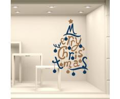 "Adesivi Murali Vetrofania natalizia ""Merry Christmas con palline"" - Misure 64x100 cm - Vetrine negozi per Natale, stickers, adesivi"