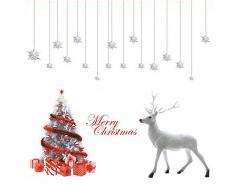 Deggodech Natale Vetrofanie Finestra Rimovibile Adesivi Vetro Bianco Murali da Muro Albero di Natale Alce Adesivo Finestre Decorazione di Natale Casa Negozi Murale Vetrina Adesiva Christmas Stickers
