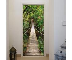 murimage Carta Parati Porta Ponte Sospeso 86 x 200 cm Fiume Legno Foresta Jungle Lago 3D fotomurali Poster Gigante Wallpaper Include Colla