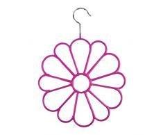 Michel Toys - Gruccia porta sciarpe con gancio, in metallo a forma di fiore, colore: Rosa