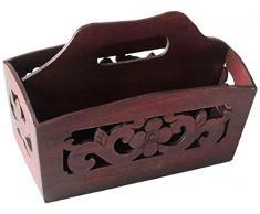 Vintiquewise Portariviste in legno intagliato a mano, colore: rosso ciliegia