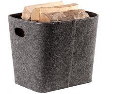 Feltro cesto camino legno cestino porta grigio TermaTech