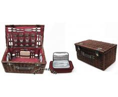 Yudu - Cestino da pic-nic per 4 persone In rattan, con 24 elementi e borsa termica. Riferimento n.:1065