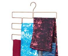 mDesign Compatto appendino per sciarpe, leggings e teli – Organizer con 8 comodi scomparti da appendere nell'armadio – Porta sciarpe in metallo – oro rosato