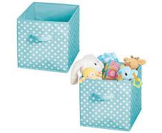 mDesign Set da 2 Scatola contenitore in tessuto di forma cubica - Scatole per armadi dal design pieghevole e con manico - Contenitore per giocattoli dal design a pois - turchese/bianco
