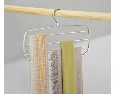 mDesign portasciarpe con vani multipli - ideale porta foulard per l'armadio - porta sciarpe pratico da appendere - colore bianco