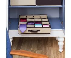 Relaxdays Organizer Cravatte salvaspazio per Armadio/portacravatte in Tessuto per Armadio, Colore Beige