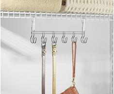 mDesign organizer appendibile – Ideale come portacravatte, portafoulard e appendisciarpe – Colore: acciaio – scaffale con griglia