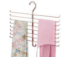 mDesign Appendino per sciarpe, foulard, leggins e pantaloni – Organizer salvaspazio per il guardaroba e larmadio – Porta sciarpe con 16 ganci in metallo – oro rosato