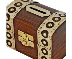 ShalinIndia- Antico ispirato denaro sicuro scatola salvadanaio in legno giocattoli e giochi