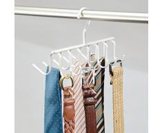 InterDesign Axis Portacravatte armadio, Portacinture da armadio in metallo con 14 ganci, bianco perlato