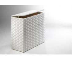Rattan im Trend - Cesto da biancheria, in nylon bianco a 2 scomparti