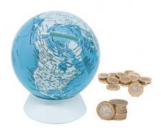 Exerz Salvadanaio Mappamondo/Globo terraqueo Diametro 13cm- mappa in inglese - dall'aspetto metallico contemporaneo, educativo, decorativo. Scuola, casa, ufficio e regalo - Blu