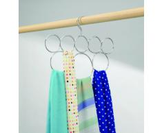 InterDesign Classico Appendino per sciarpe, Organizer da appendere in metallo per sciarpe, foulard, cravatte e cinture con 8 occhielli, Argento