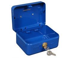 Viro 4272 Cassetta Portavalori a Chiave con Cilindro Viro e Feritoia Salvadanaio, Blu, 150 x 110 x 80 mm