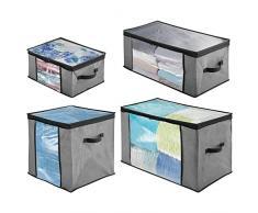 mDesign Set da 4 Scatole per armadi con cerniere e finestre - Scatole contenitori in plastica e fibra sintetica di misure diverse - Scatole per vestiti, biancheria, lenzuola, accessori - grigio e nero