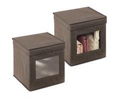 mDesign Set da 2 scatole portabiancheria - Scatole per armadi con coperchio e finestra in plastica - Scatola contenitore quadrata in tessuto sintetico per riporre vestiti e accessori - marrone scuro