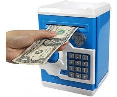 Auped Salvadanaio elettronico password , salvadanaio mini bancomat salvadanaio, Banca dei Soldi delle Password per Contanti Monete Bancomat Mini Monete Migliori Regali per Bambini (blu)
