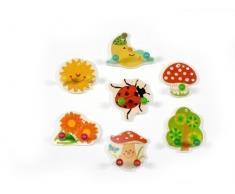 Hess - Appendiabiti per bambini, misura piccola, motivo: giardino, in legno
