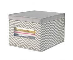 mDesign Organizer armadio in tessuto di polipropilene traspirante - Elegante scatola portaoggetti ideale per fasciatoio - Scatole per armadi pratiche portabiancheria - grigio topo/beige