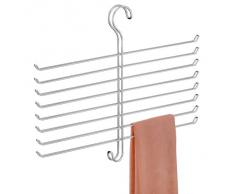 InterDesign Classico Gruccia porta sciarpa antipieghe con 8 aste, Organizer da appendere in metallo per cravatte, cinture e molto altro, Argento