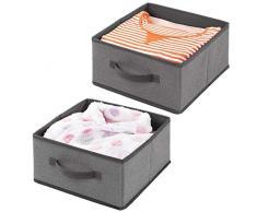 mDesign Set da 2 Scatole per armadi in tessuto sintetico - Scatola contenitore per biancheria, vestiti e accessori - Pratico organizer per armadio con maniglia - grigio scuro