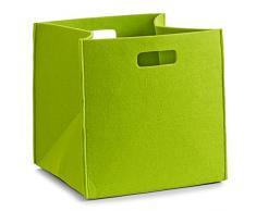 Zeller, Cesto portaoggetti rettangolare in feltro, Verde