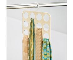 InterDesign-Organizer porta Remy Armadio per sciarpe, Pashminas, scialli, accessori, in plastica, colore: bianco/oro, 6 pezzi