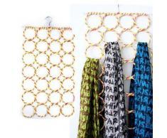 EQLEF® Portacravatte,28 buche Slots anello di corda del supporto del gancio della sciarpa avvolge scialle bagagli Hanger Organizzatore