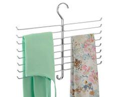mDesign gruccia Porta Cravatte e Porta Foulard – L'Ideale per organizzare i Vostri Accessori e Le vostre Sciarpe nell'Armadio – Colore: Cromato