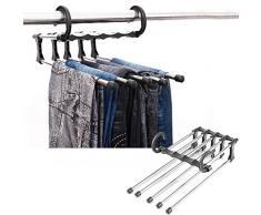 Saibangzi porta-pantaloni in acciaio inox, multifunzione 5 in 1, adatto anche per sciarpe, cravatte, corrimano, appendiabiti, salvaspazio, 2 pezzi
