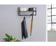 LIFA LIVING Appendiabiti da Muro Design con ripiano portaoggetti, Attaccapanni a Parete con mensola e 5 Ganci per Appendere Cappotti e Giacche, Legno e Metallo