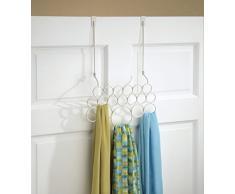 InterDesign Classico-Gruccia con 18 anelle porta-Sciarpa/Storage Organizer Closet antistrappo per sciarpe, cravatte/cinture/scialli/Pashminas/accessori, colore: bianco perla