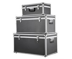 iKayaa - Cassette degli attrezzi con telaio in alluminio e ABS Bloccabile Archiviazione Scatole Contenitore con Maniglie, set da 3 pezzi