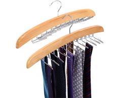 Ohuhu Portacravatte in Legno per 24 Cravatte, Singolo Gancio Lega Gancio di Legno Naturale Organizzatore Rack, la Scelta Migliore per Il Vostro Organizzatore del Vestiario - 2 Pezzi