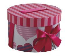 Scatola regalo rotonda in cartone con nastro e fiocco, pattern di cuore.