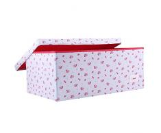Minene Grande contenitore portaoggetti con coperchio, in tessuto blu con fiori rossi, perfetto per giocattoli e oggetti dei bambini