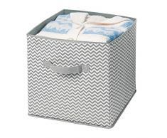 mDesign Scatola per armadi in Stoffa - portaoggetti Universale - scatolone Ottimo per Il Cambio Stagione - Colore: Grigio, Crema - Grande